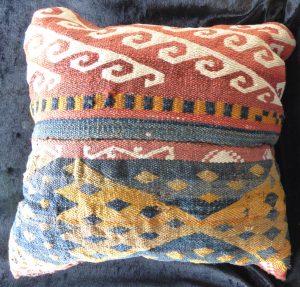 Uzbek Kilim Flatweave Gajari Cushion