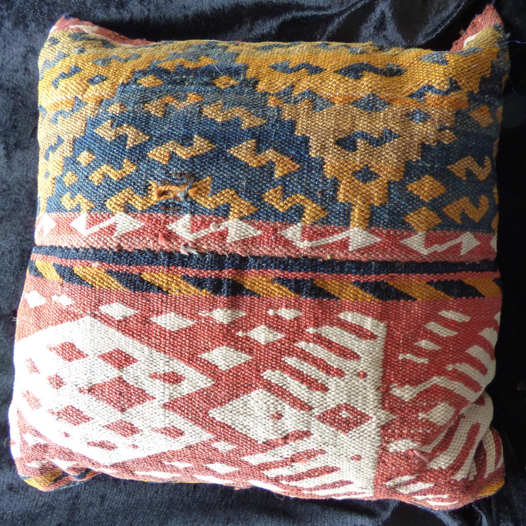 Small Uzbek Kilim Flatweave Gajari Cushion 17066