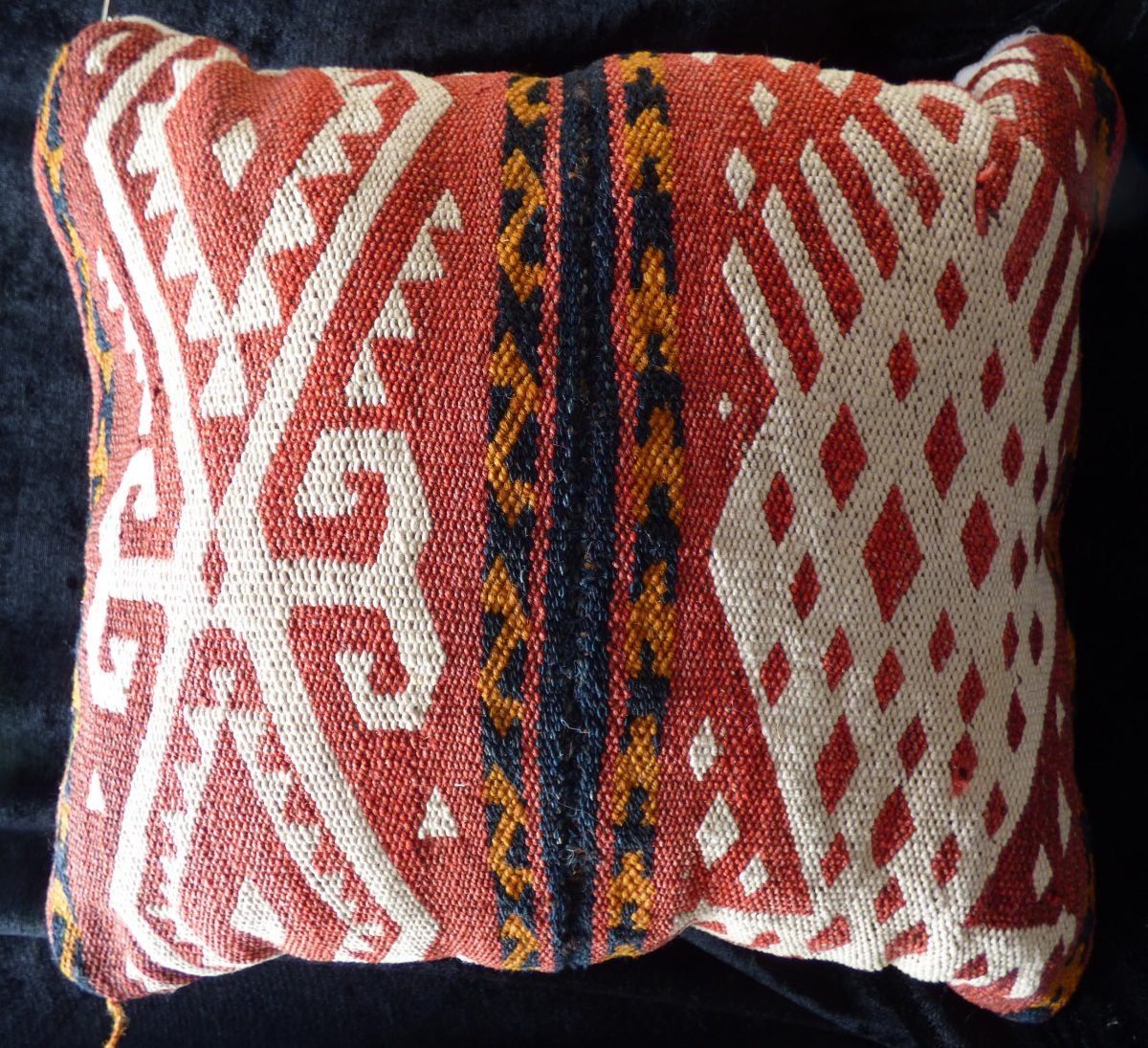 Small Uzbek Kilim Flatweave Gajari Cushion