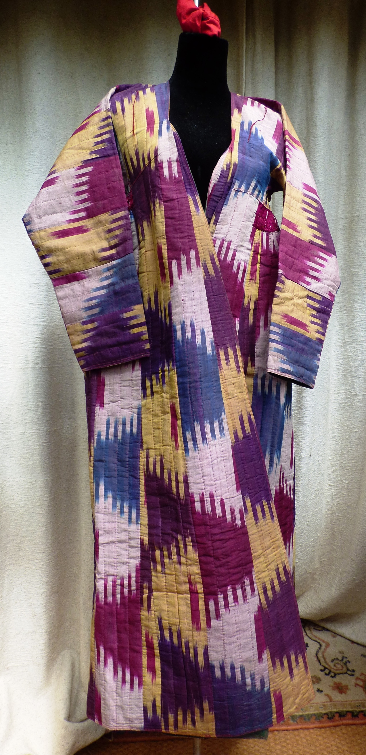 Vintage Chapan Central Asian Ikat Woven Robe 17080